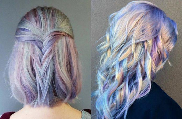 Dwa zdjęcia przedstawiające delikatnie pastelowe włosy