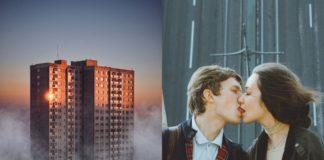 Widok betonowego bloku, a obok całująca się para