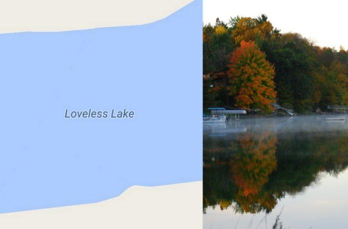 Widok mapy i widok jeziora
