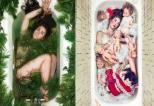 Dziewczyna leżąca w wannie na dwóch zdjęciach