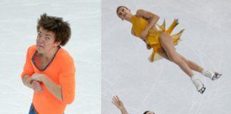 Dwa zdjęcia przedstawiające łyżwiarzy w dziwnych pozach