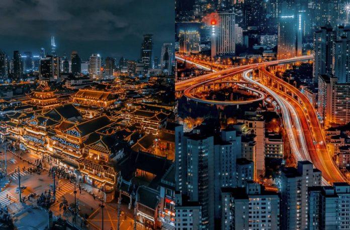 Dwa zdjęcia panoramy miasta nocą