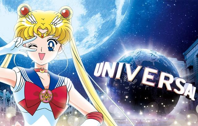 Postać z Sailor Moon i logo Universal