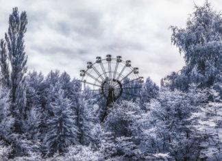 Zdjęcie diabelskiego młynu w zaśnieżonym lesie