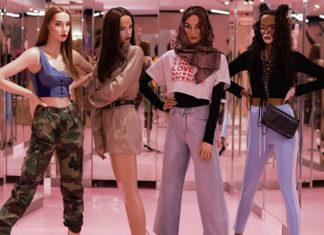Cztery manekiny-kobiety o różnej rasie etnicznej i wyglądzie