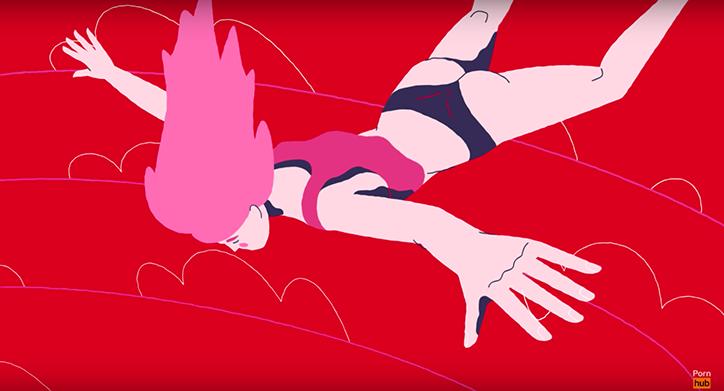 Rysunek przedstawiający kobietę na czerwony tle, lecącą głową w dół