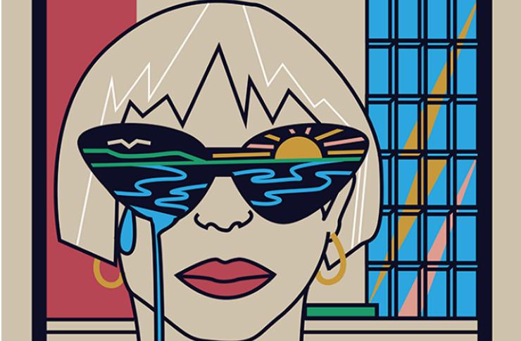 Grafika przedstawiająca dziewczynę w okularach