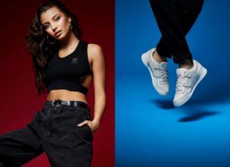 Zdjęcie dziewczyny ubranej na sportowo i kadr ze zbliżeniem na buty