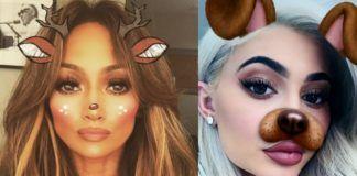 Dwa zdjęcia przedstawiające kobiety z filtrem ze snapchata