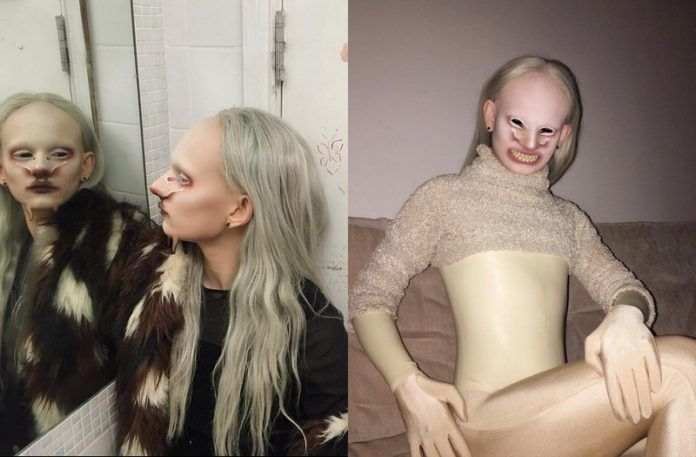 Dwie fotografie przedstawiające kontrowersyjnie wyglądająca dziewczynę