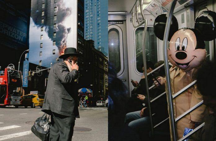 Dwa zdjęcia, na pierwszym mężczyzna rozmawia przez telefon, na drugim mężczyzna ma zakrytą twarz balonem z myszką mickey