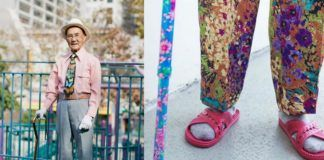Zdjęcie mężczyzny z laską i zbliżenie na różowe klapki i laskę