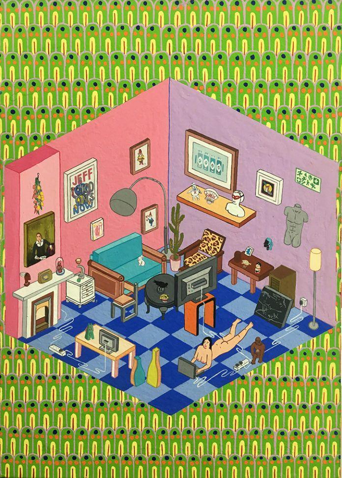 obraz przedstawiajacy kolorowy pokoj z duza iloscia detali
