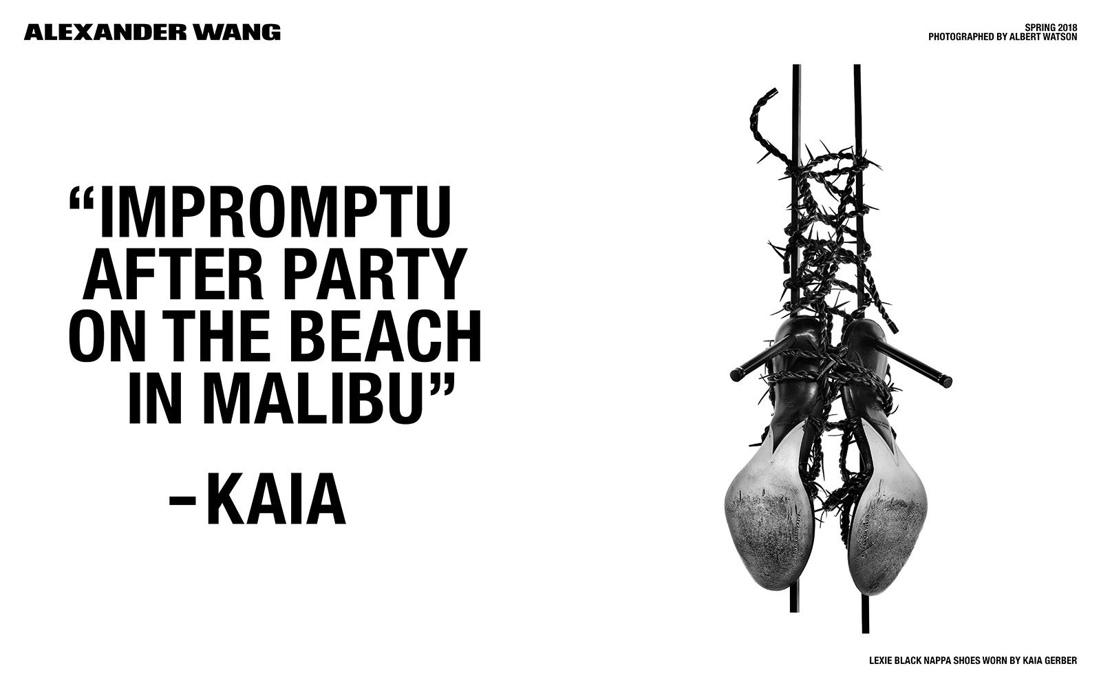 """Wiszące buty na obcasie oplecione drutem kolczastym, obok cytat """"Impropmtu after party on the beach in malibu"""" -Kaia"""