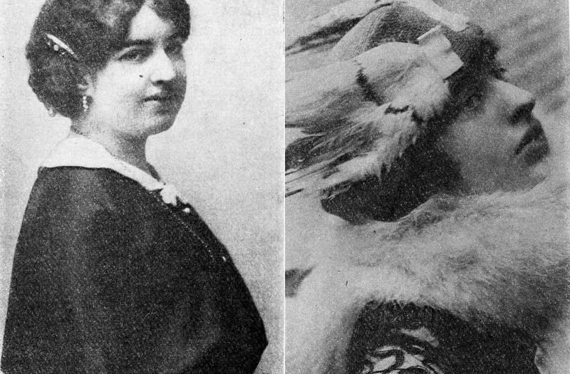 Kolaż czarno białych zdjęć, z lewej strony kobieta ujęta z profilu, w upiętych włosach w czarnej sukni, z prawej strony kobieta ujęta z profilu w ozdobnym kapeluszu z futrzanym kołnierzem.