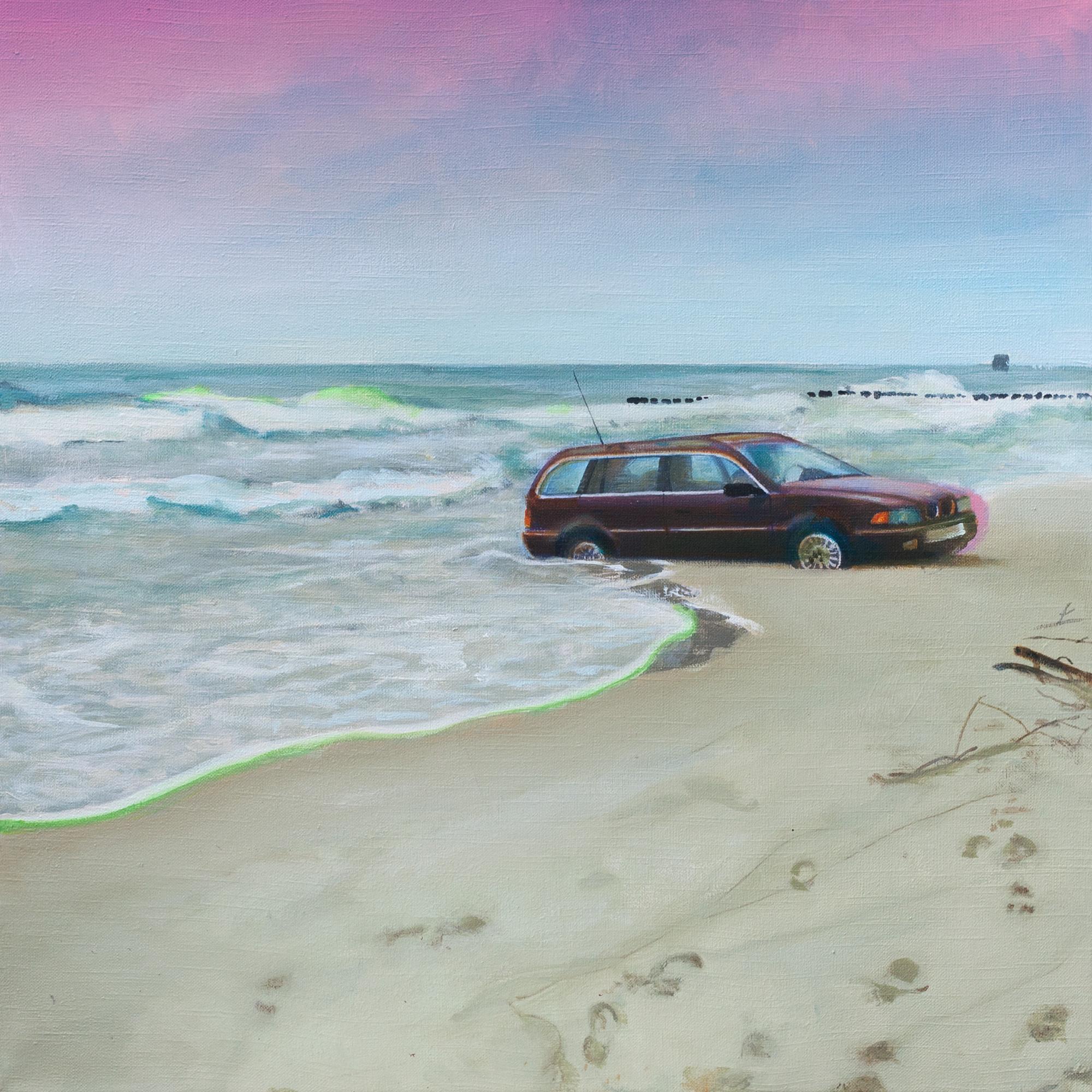 Obraz wykonany na plotnie przedstawia plaze z fal wyjezdza czerwone auto kombi a niebo jest niebiesko rozowe
