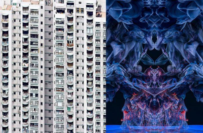 Zdjęcie bloku i obok zdjęcie abstrakcyjnej formy