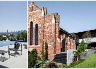 Widok na basen oraz budynek kościoła połączonego z nowoczesnym budynkiem