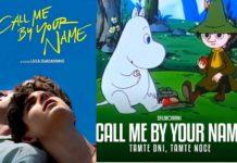 Plakat Call me By Your Name i obok plakat z muminków