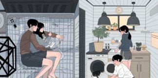Dwie ilustracje przedstawiające parę w trakcie codziennych obowiązków