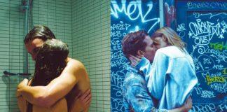 Dwie fotografie przedstawiające całujące się pary