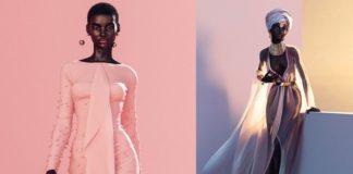 Dwa zdjęcia przedstawiające czarnoskórą modelkę