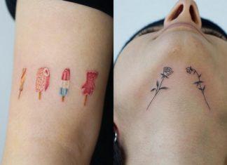 Dwa tatauże:dwie róże wytatuowane pod podbródkiem dziewczyny i kwiatki oraz lody na ramieniu