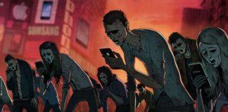 Ilustracja przedstawiające ludzi jako zombie z telefonami