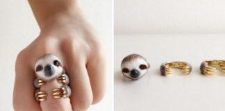 Pierścionek w kształcie leniwca