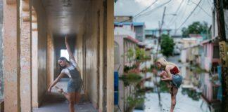 Dwie baletnice tańczące na ulicy