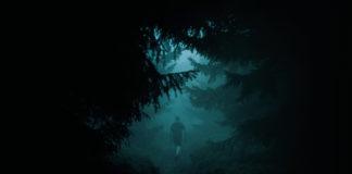 Na zdjeciu widzimy zamglony ciemny mroczny las a posrodku miedzy drzewami w oddali widzimy mezczyzne