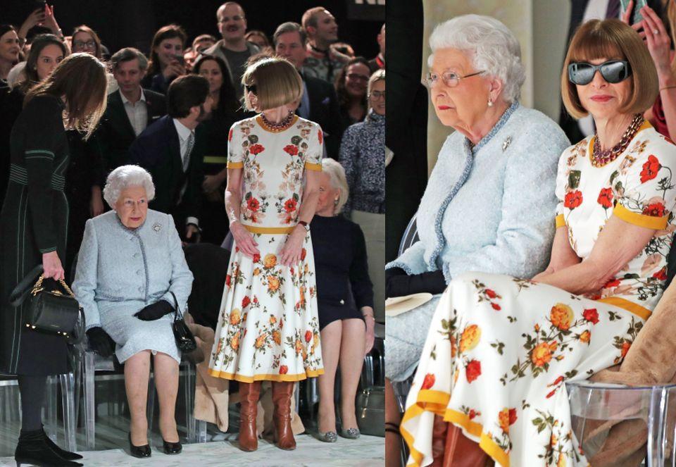 skeljka zdjęć przedstawia dwie kobiety jedna z nich starsza siedzi na krześle ubrana w błękitny kostium druga stojąca obok w kwiecistej sukience