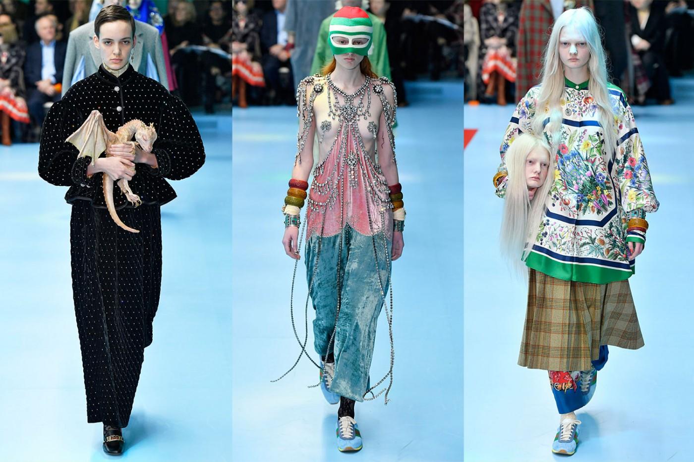 sklejka zdjęć przedtsawia mężczyzne i dwie kobiety idących po wybiegu , męzczyzna ubrany na czarno trzyma replikę małego smoka kobieta po prawej o jasnych blond włosach tzryma podobiznę swojej własnej głowy