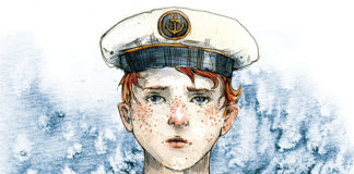 Rysunek przedstawiający chłopca w marynarskim ubraniu