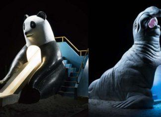 Dwa elementy placu zabaw: zjeżdzalnia w kształcie pandy i domek w kształcie morsa