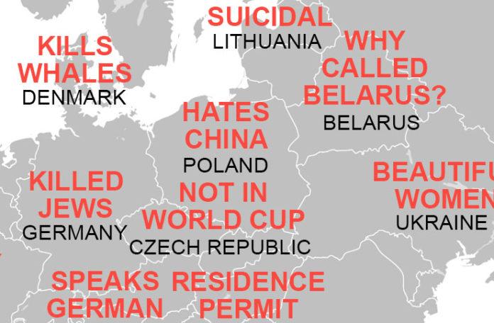 Mapa pokazująca co Chińczycy myśla o Europie