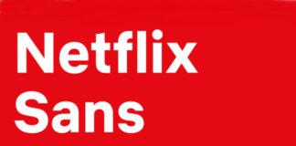 Na czerwonym tle widoczny jest napis Netflix Sans
