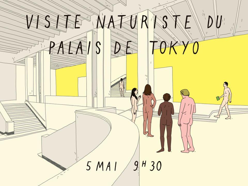 """Rysunek przedstawiający sześć nagich osób stojących w dużym białym wnętrzu z żółtymi ścianami. Napis """"Visite naturiste du Palais de Tokyo, 5 mai 9.30"""""""