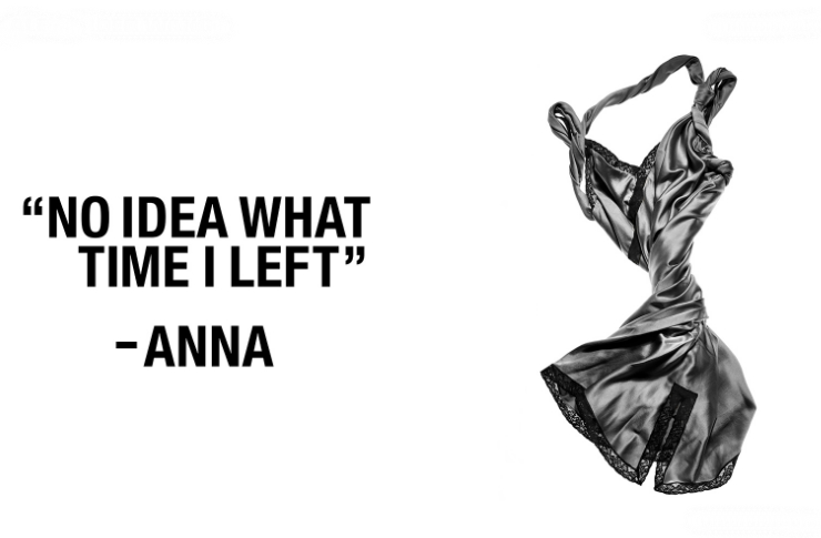 "Spiralnie ułożona koszula nocna, obok cytat ""no idea what time i left""-Anna"
