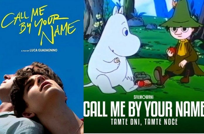 Plakat Call me By Your Name i obok plakat z muminków