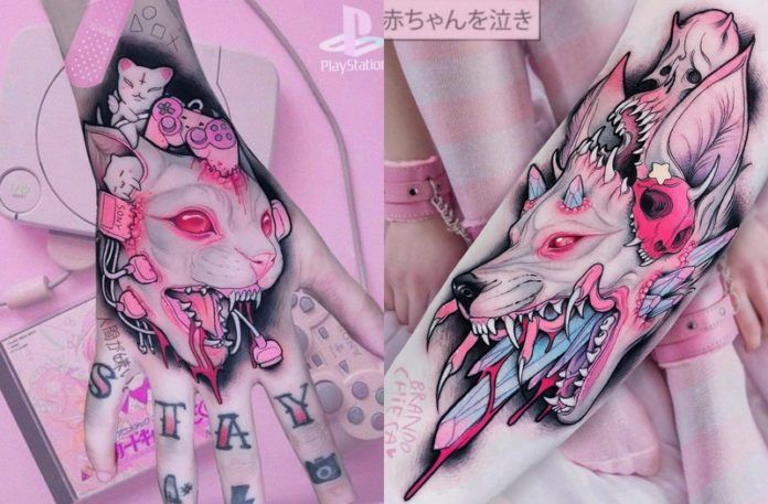 Dwa tatuaże, jeden przedstawiający kota, drugi psa