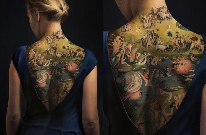 Dziewczyna z namalowanym na plecach obrazek ogród rozskoszy ziemskich