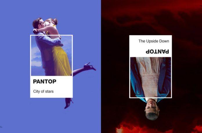Postaci z Lala Land i Stranger Things w formie koloru Pantone
