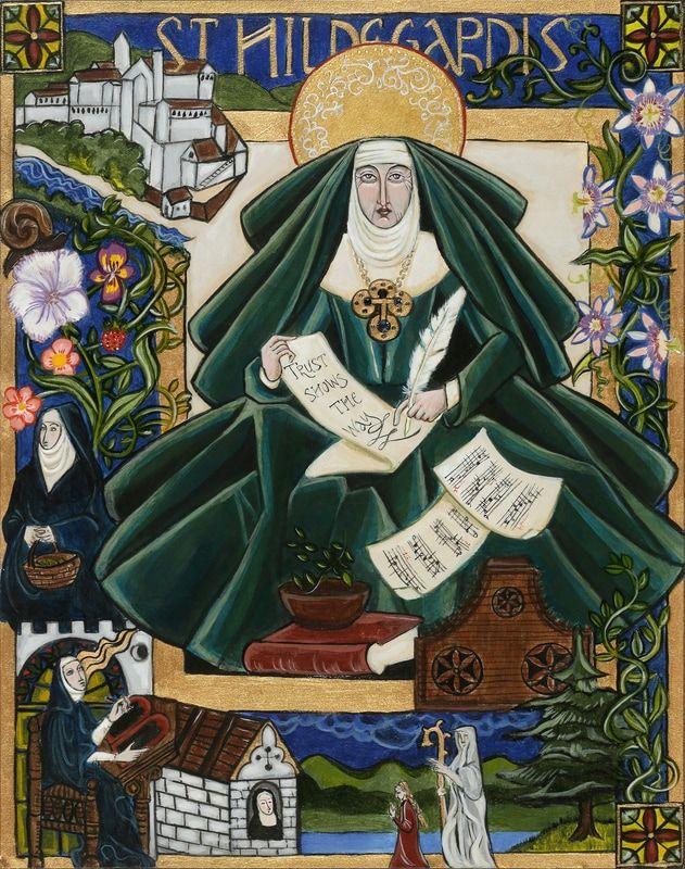 """Ilustracja przedstawiająca zakonnicę w obszernej zielonej szacie i nimbem nad głową z zapisanymi kartkami papieru w dłoniach. Wokół niej ilustracja budowli, innych zakonnic, drzewa, ornamenty kwiatowej i napis """"St. Hildegardis""""."""
