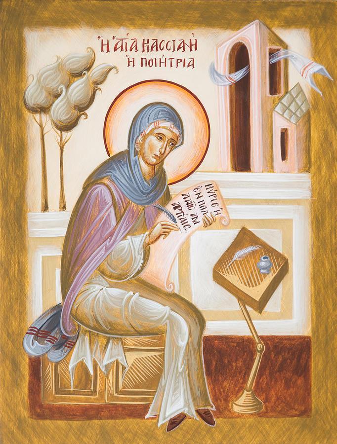 Ikona przedstawiająca kobietę w białoniebieskiej szacie z nimbem nad głową piszącą tekst na kartce.