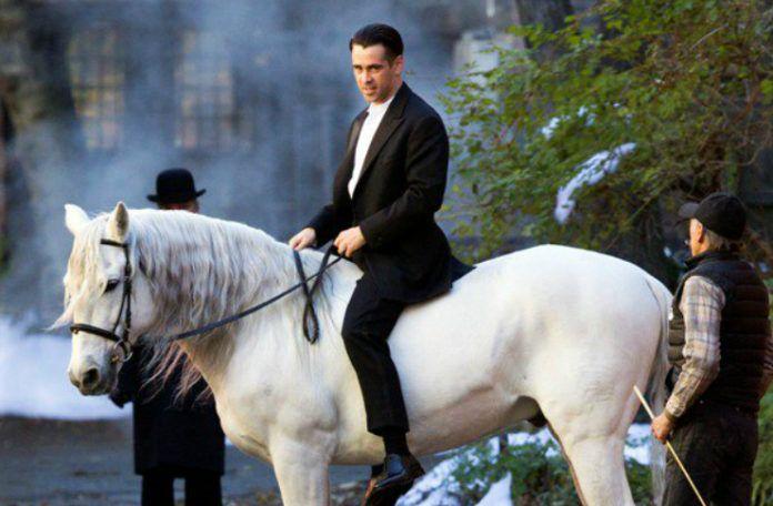 Mężczyzna siedzący na białym koniu