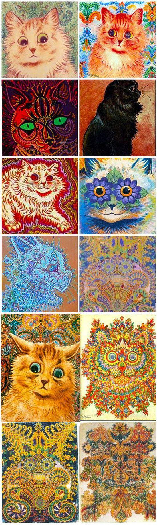 kolorowe psychodeliczne portrety kotow
