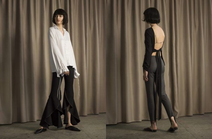 Dwa zdjęcia dziewczyny ubranej w minimalistyczne stylizacje