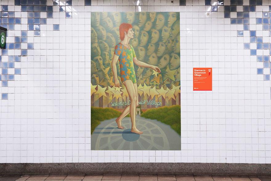 Obraz przedstawiający Davida Bowiego na stacji metra