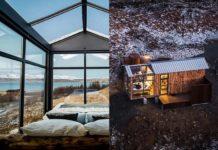 Dwie fotografie przdstawiające szklaną sypialnię i dom z zewnątrz